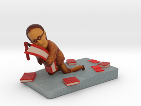 "Book Lover - 2"" tall in Full Color Sandstone"