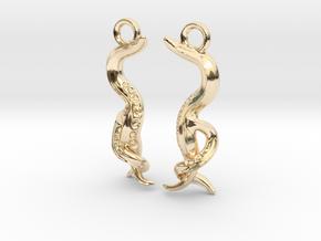 Caenorhabditis Nematode Worm Earrings in 14K Yellow Gold