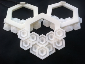 Hex Pendant in White Natural Versatile Plastic