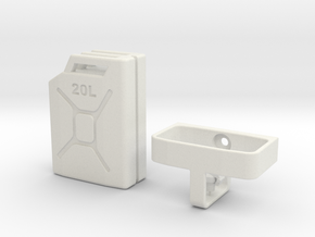 1/10 Scale 20 litre Jerry Can + mount in White Strong & Flexible