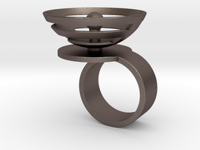Orbit: US SIZE 6 in Polished Bronzed Silver Steel