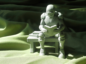 Robot Reading Book in Metallic Plastic