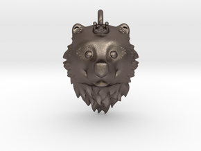 Bear Queen Pendant in Polished Bronzed Silver Steel
