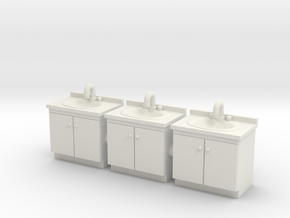 Vanity sink 01. HO Scale (1:87) in White Natural Versatile Plastic