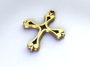 Cross Pendant of Hope medium in Polished Brass