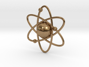 Atom Necklace Charm in Natural Brass