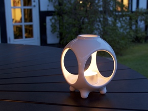 Open Sphere Tea Light - Small Top in Gloss White Porcelain