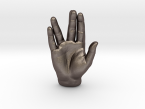Spock Vulcan Hand Pendant in Polished Bronzed Silver Steel