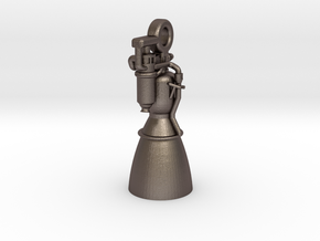 Rocket Engine Key Fob in Polished Bronzed Silver Steel