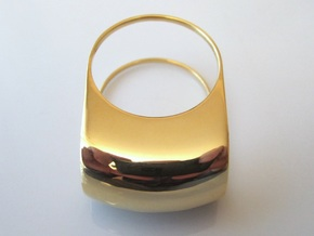 Lid for Compact Pillbox Ring - size 10 in 18k Gold Plated Brass