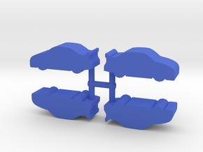 Stock Race Car Meeple, 4-set in Blue Processed Versatile Plastic