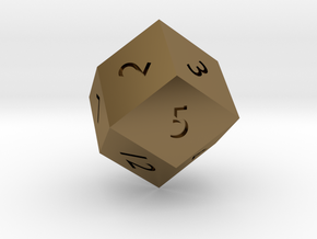 Rhombic 12-sided die in Polished Bronze