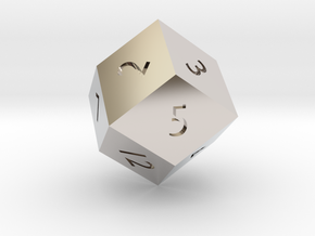 Rhombic 12-sided die in Platinum