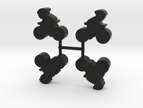 Game Piece, Cyclists, 4-set in Black Natural Versatile Plastic