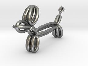 Long Balloon Dog Pendant in Natural Silver