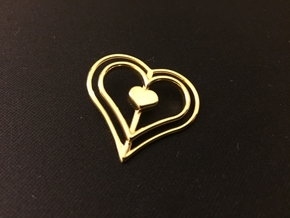 Three Heart Pendant in 14k Gold Plated Brass