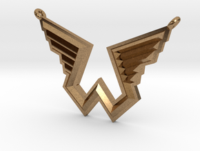 Wings Logo Necklace Pendant in Natural Brass
