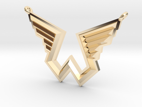 Wings Logo Necklace Pendant in 14k Gold Plated Brass
