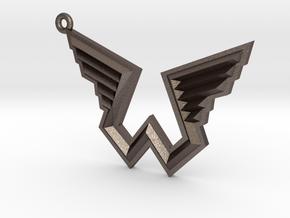 Wings Logo Keychain in Polished Bronzed Silver Steel