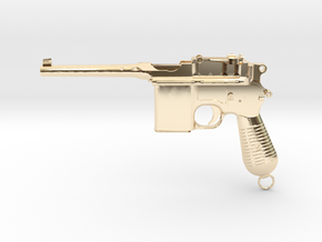1/4 Scale Broomhandle Mauser in 14K Yellow Gold