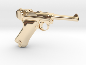 1/4 Scale Luger in 14K Yellow Gold