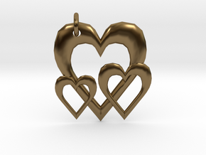 Linking Hearts Pendant in Polished Bronze