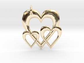 Linking Hearts Pendant in 14k Gold Plated Brass
