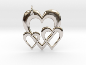Linking Hearts Pendant in Rhodium Plated Brass