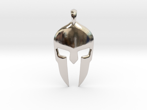 Spartan Helmet Jewelry Pendant in Rhodium Plated Brass