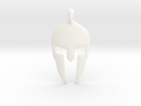 Spartan Helmet Jewelry Pendant in White Processed Versatile Plastic