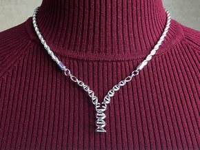 Replicating DNA Pendant in Polished Silver