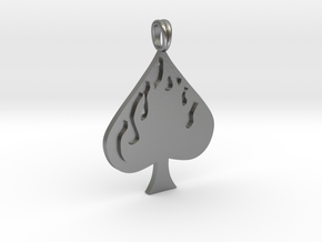 Flaming SPADE Jewelry Symbol Lucky Pendant  in Natural Silver