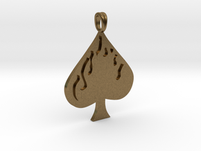 Flaming SPADE Jewelry Symbol Lucky Pendant  in Natural Bronze