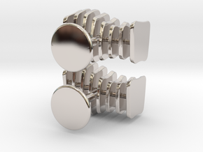 Cufflinks Free Form in Rhodium Plated Brass