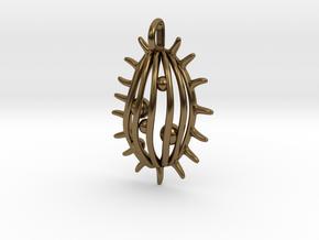 Tetrahymena Protozoan Pendant  in Polished Bronze