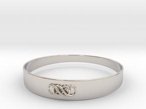 Double Infinity Bracelet ver.1 51mm inside in Rhodium Plated Brass