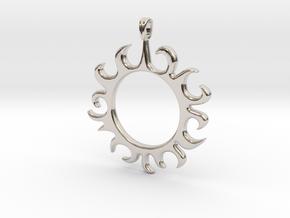 Tribal Sun Design Jewelry Symbol Pendant in Rhodium Plated Brass