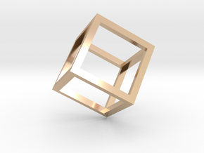 Cube Outline Pendant in 14k Rose Gold Plated Brass
