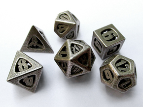Thoroughly Modern Dice Set in Stainless Steel