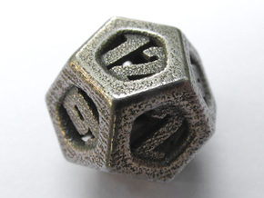 Thoroughly Modern d12 in Polished Bronzed Silver Steel