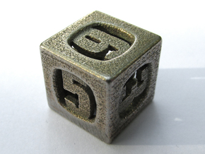 Thoroughly Modern d6 in Polished Bronzed Silver Steel