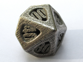 Thoroughly Modern d10 Decader in Polished Bronzed Silver Steel