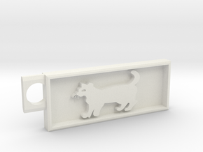 Cat key chain in White Strong & Flexible