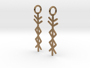 Prosperity Bind Rune Earrings-brs in Natural Brass