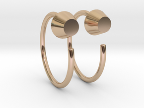 B Stud Mini Hoops in 14k Rose Gold