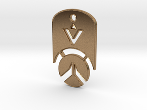 Overwatch Dog Tag *beveled edges* (Necklace) in Natural Brass