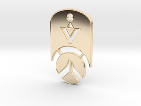 Overwatch Dog Tag *beveled edges* (Necklace) in 14K Yellow Gold