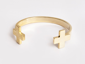 Double Plus Cuff in Polished Silver