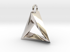 Penrose Triangle Pendant in Rhodium Plated Brass