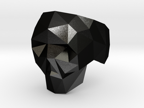 Low-poly Skull Ring Size 7 in Matte Black Steel